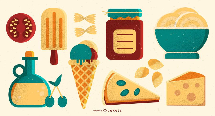 Italian Food Illustration Element Set