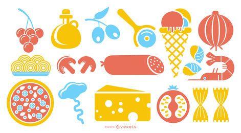 Conjunto de ícones coloridos de comida italiana