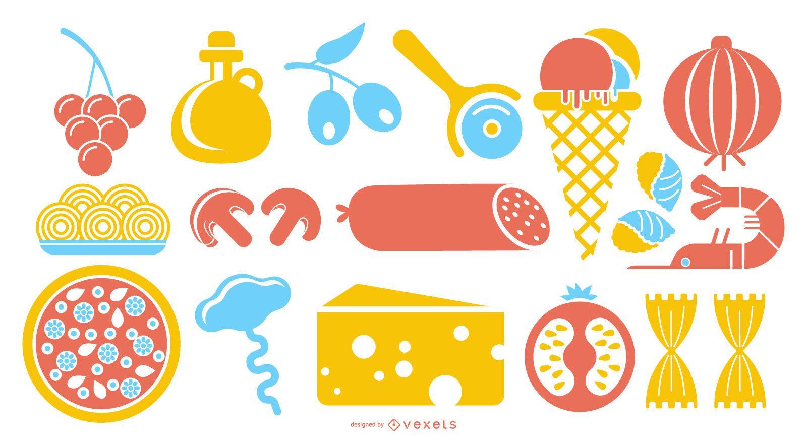 Conjunto de iconos de colores de comida italiana