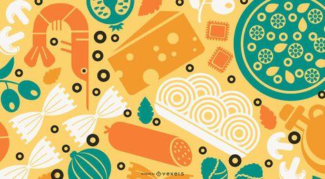 Papel pintado de diseño plano de comida de Italia