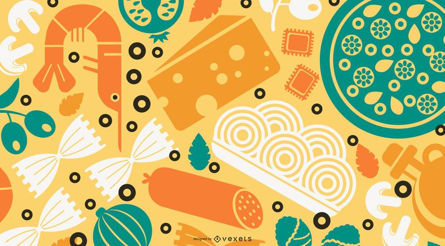 Italia Food Flat Design Wallpaper