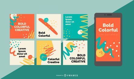 Bold colorful social media posts