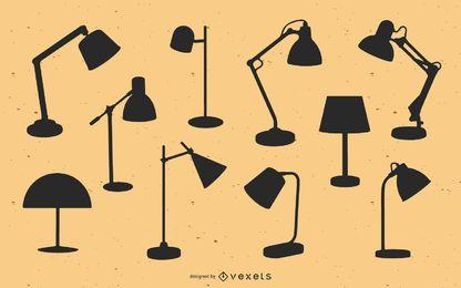 Pacote de silhueta de lâmpadas de mesa