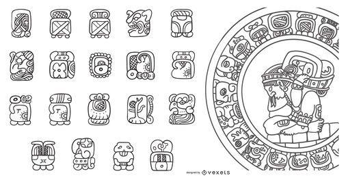 Conjunto de diseño de trazo de calendario maya