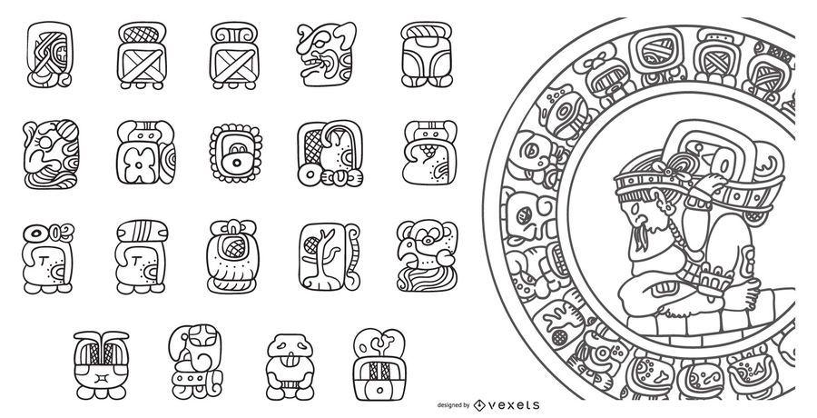 Mayan Calendar Stroke Design Set