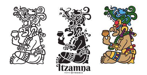 Itzamna mayan god vector set