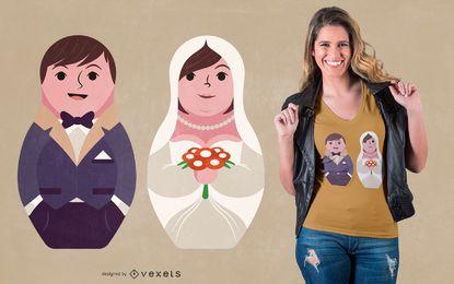 Design de camisetas para casais casados Matryoshka
