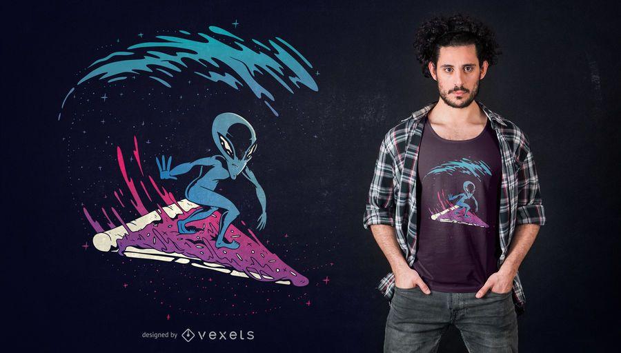 Diseño de camiseta Pizza Surfing Alien