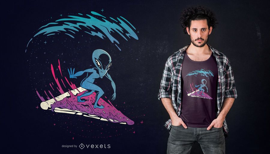 Pizza Surfing Alien T-shirt Design
