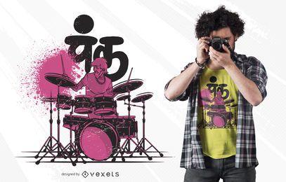 Projeto do t-shirt do baterista do punk de Desi