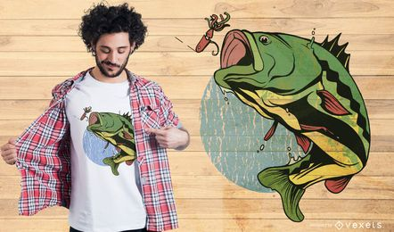 Diseño de camiseta de pesca con mosca