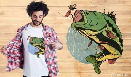 Projeto do t-shirt dos peixes da vara da pesca com mosca