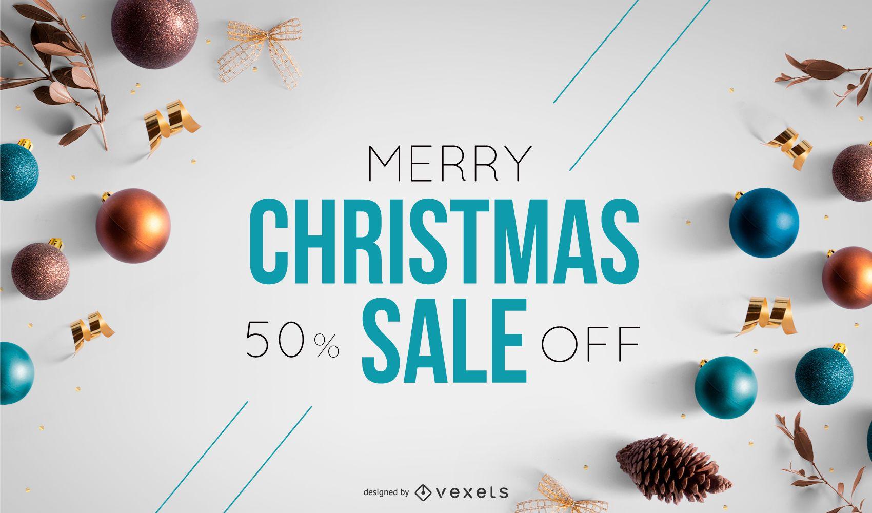 Christmas sale photo banner template