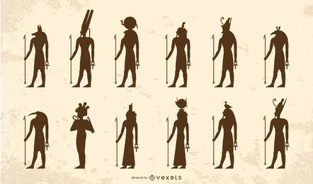 Pacote de silhueta de deuses egípcios