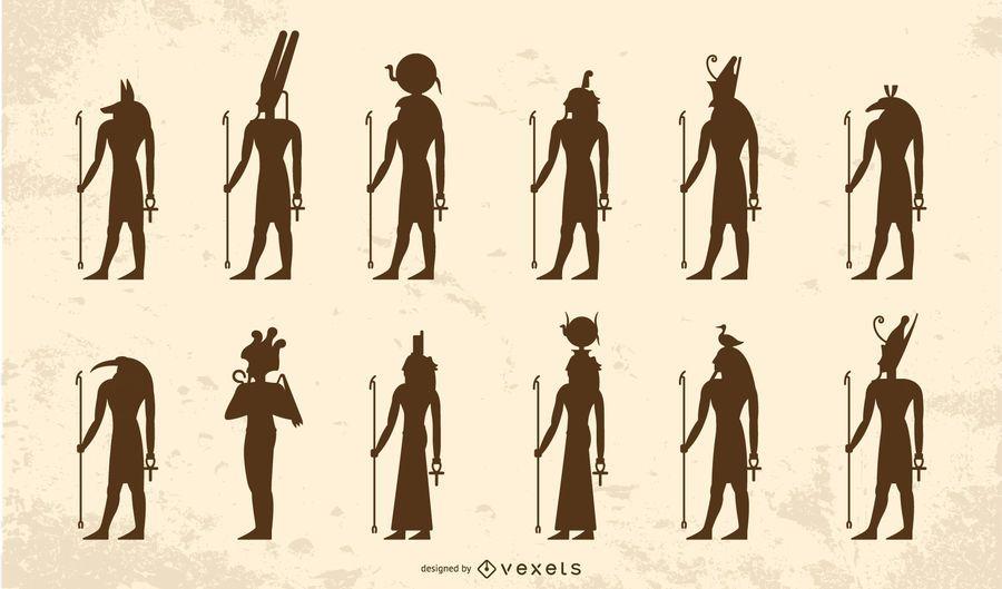 Pack de silueta de dioses egipcios