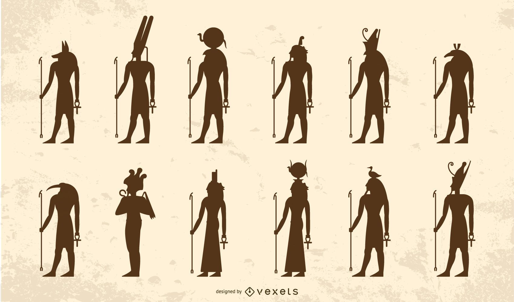 Egyptian gods silhouette pack