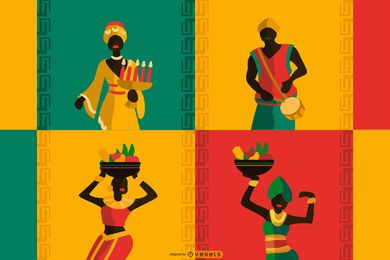 Kwanzaa flache Komposition Design