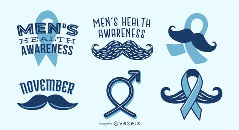 Men's health awareness ribbon set