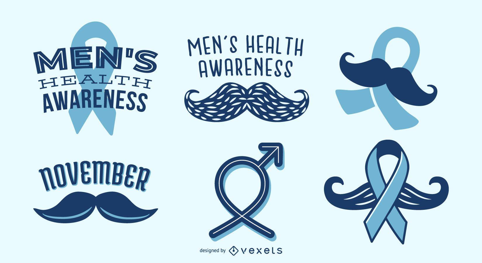 Men's health awareness ribbon set