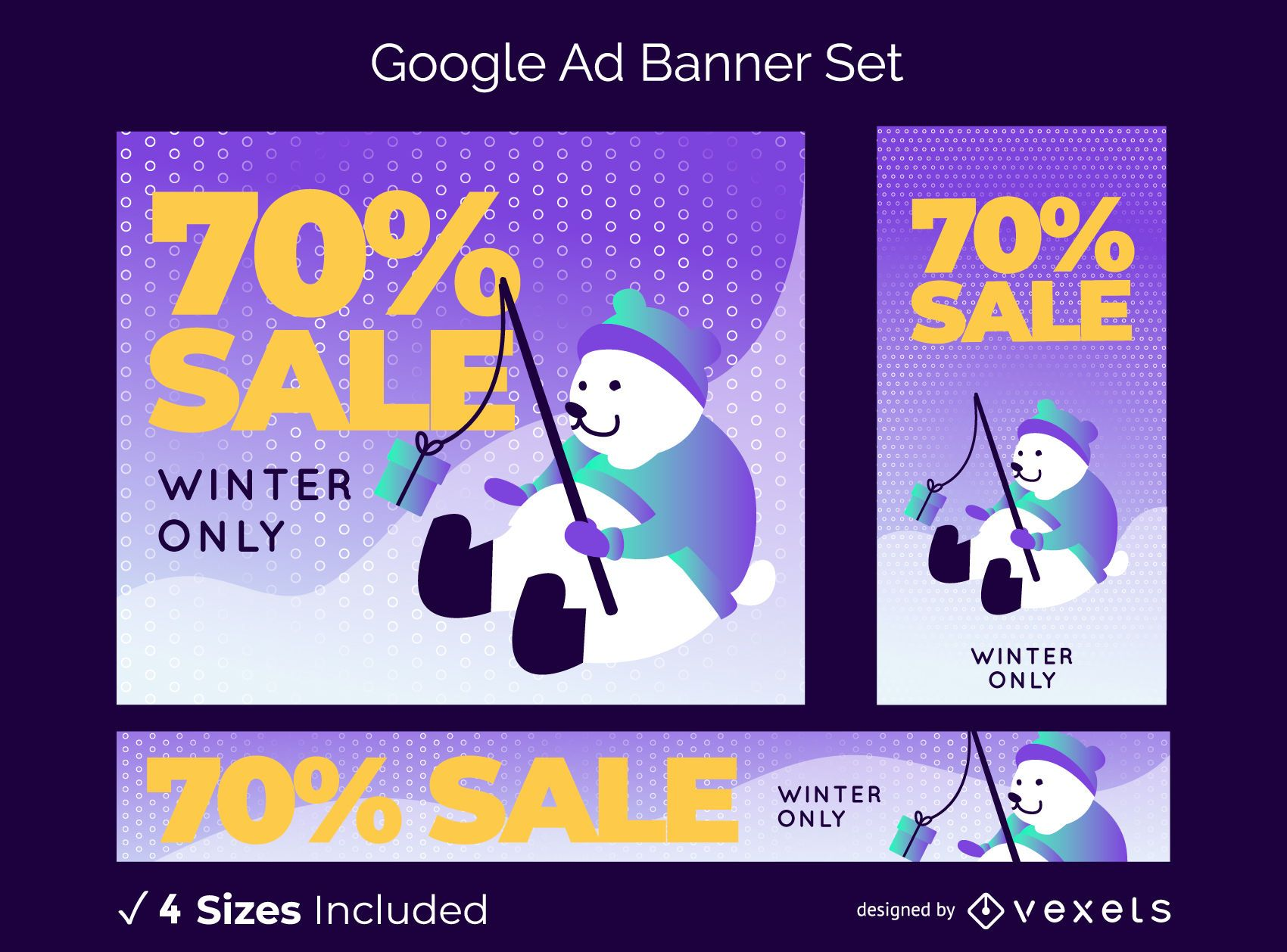 Winter sale editable banner set