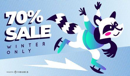 Winter Verkauf Waschbär Folie Vorlage