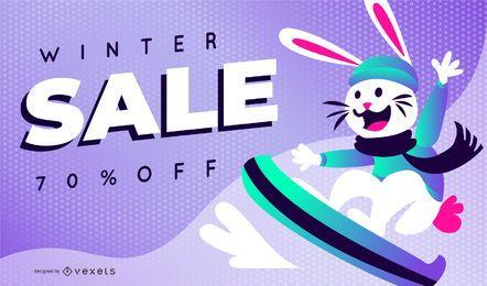 Plantilla de diapositiva de conejo de venta de invierno