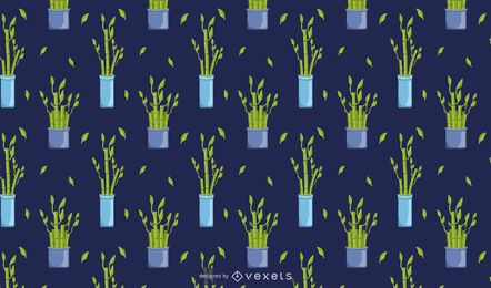 Diseño de patrón de planta de bambú de la suerte