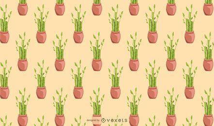 Glückliches Zimmerpflanze-Musterbambusdesign