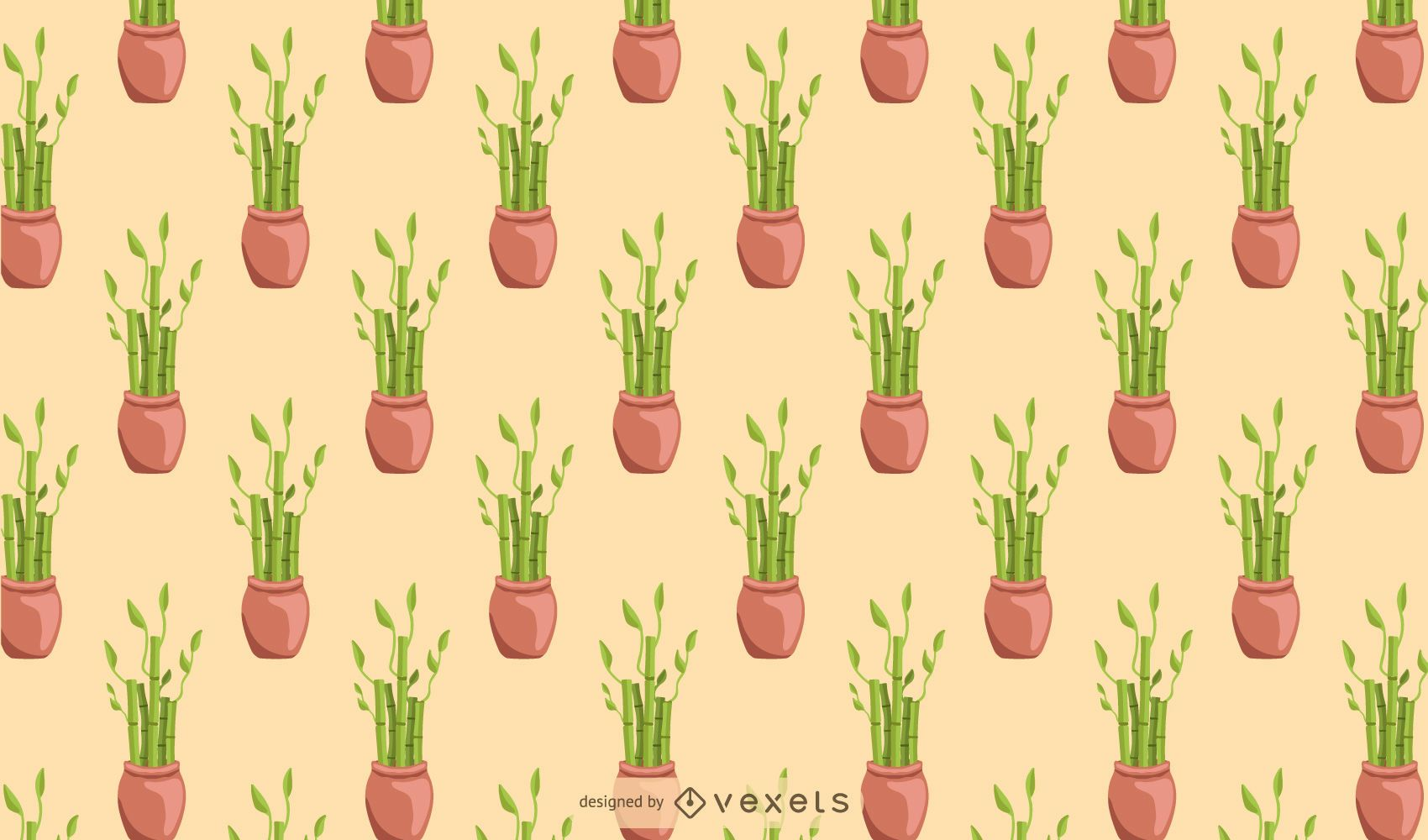 Bamboo lucky houseplant pattern design