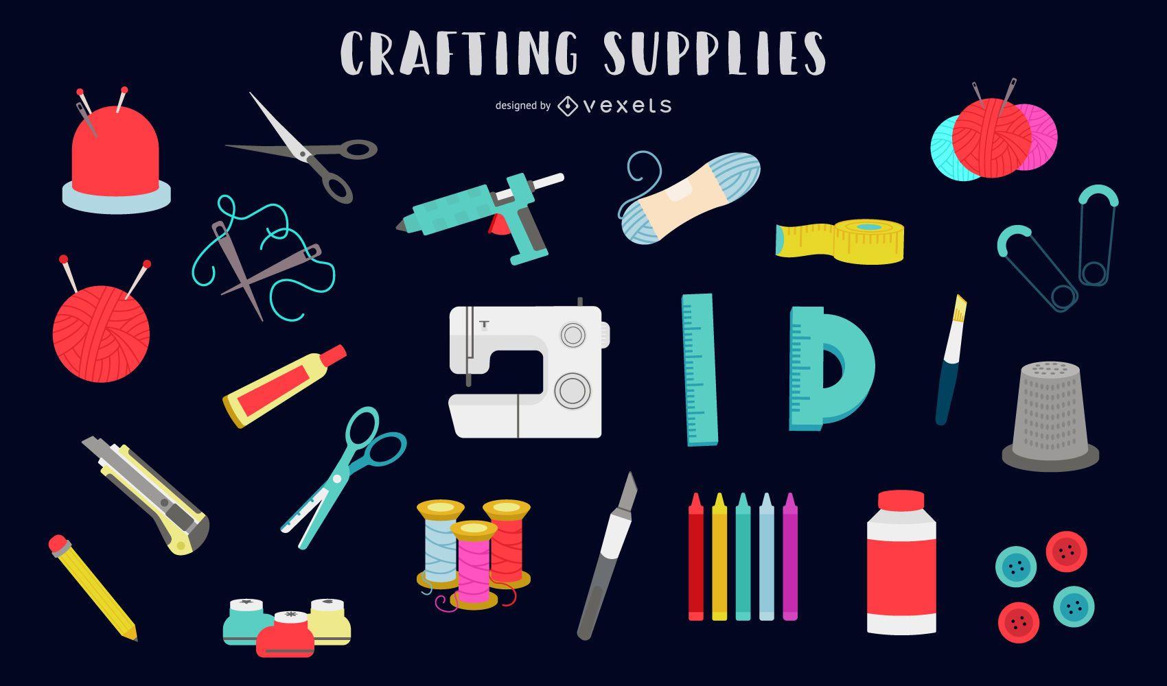 Crafting supplies flat set