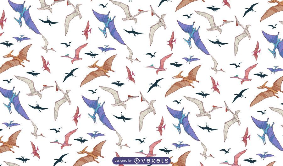 Flying dinosaurs pattern design