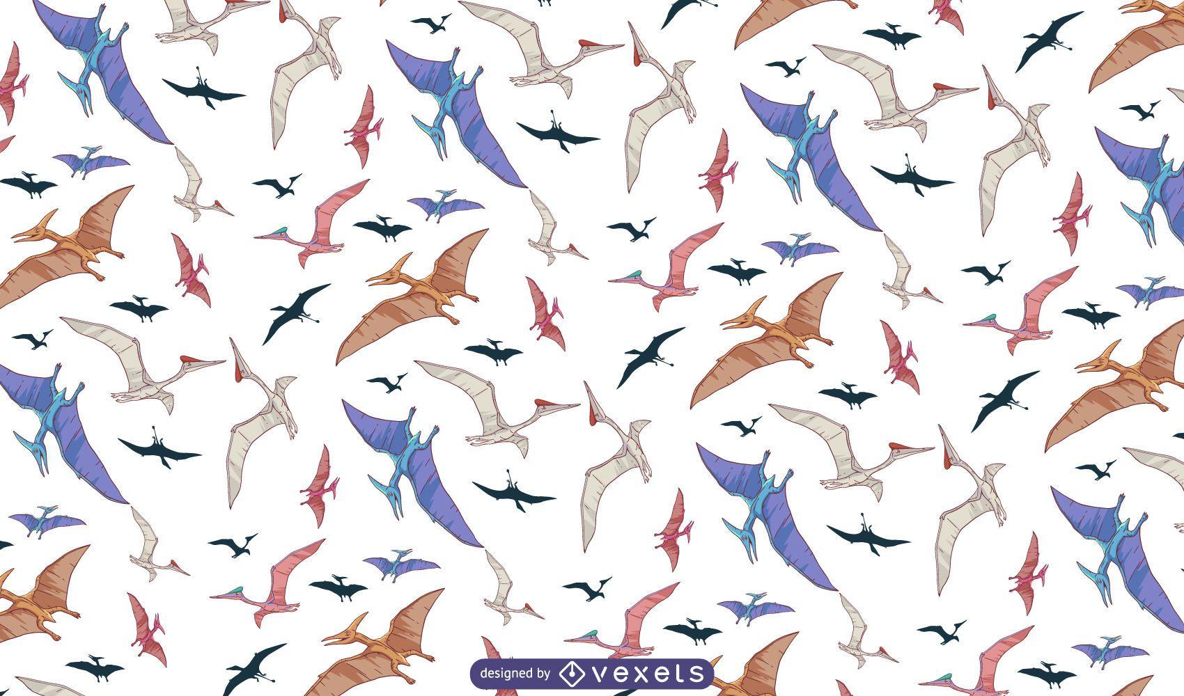 Flying dinosaurs pattern design