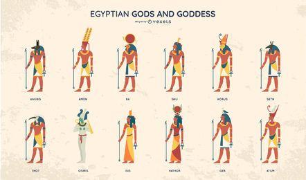 Conjunto de diseño de estilo plano de dioses egipcios