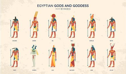 Egyptian Gods Flat Style Design Set