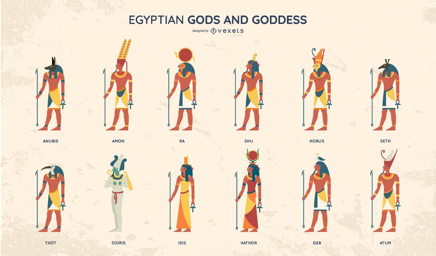 Egyptian Gods Flat Style Design Set