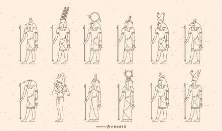 Conjunto de design de traços de deuses e deusas egípcios