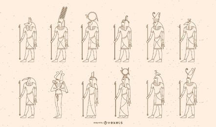 Egyptian Gods and Goddesses Stroke Design Set