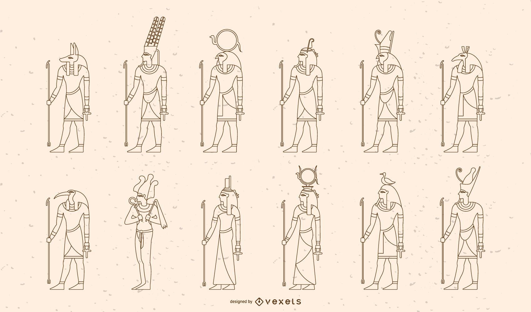 Conjunto de diseño de trazo de dioses y diosas egipcios