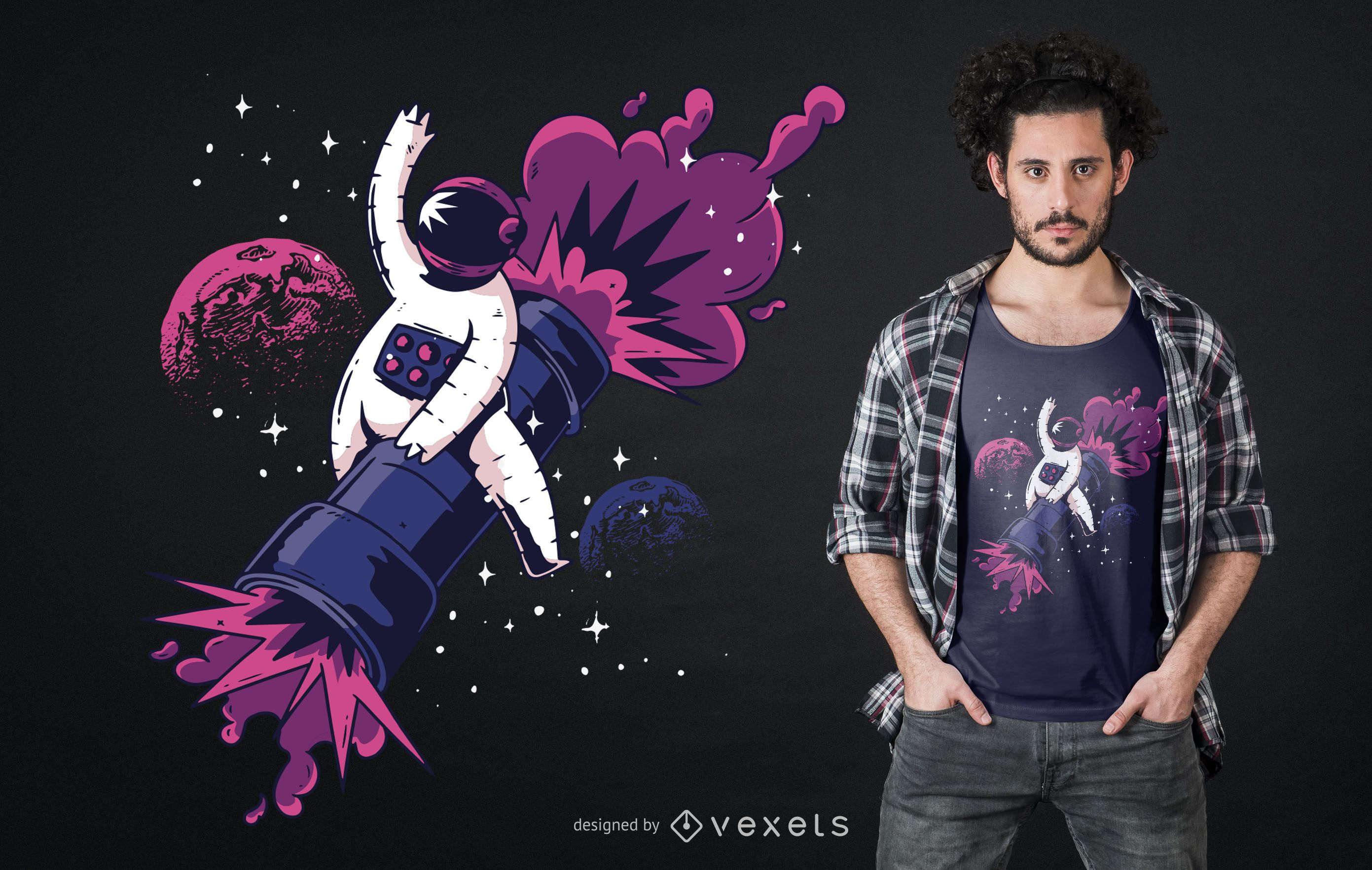 Diseño de camiseta astronauta bazooka.