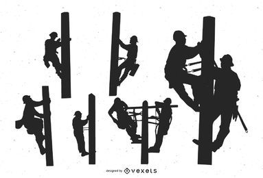 Power Lineman People Silhouette Set