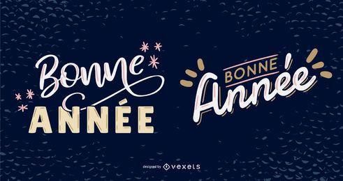 Paquete de diseño de letras francesas de año nuevo