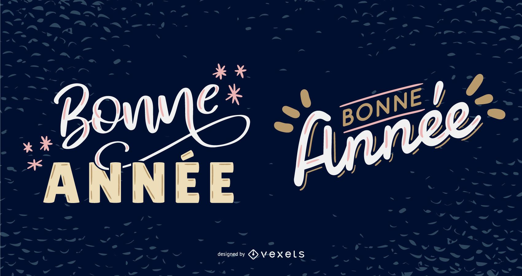 New Year French Lettering Design Pack