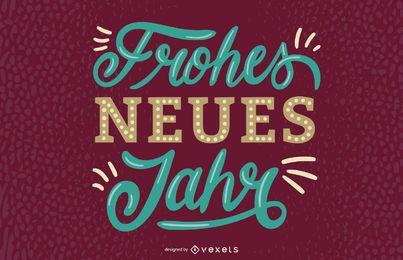 Feliz año nuevo diseño de letras alemanas