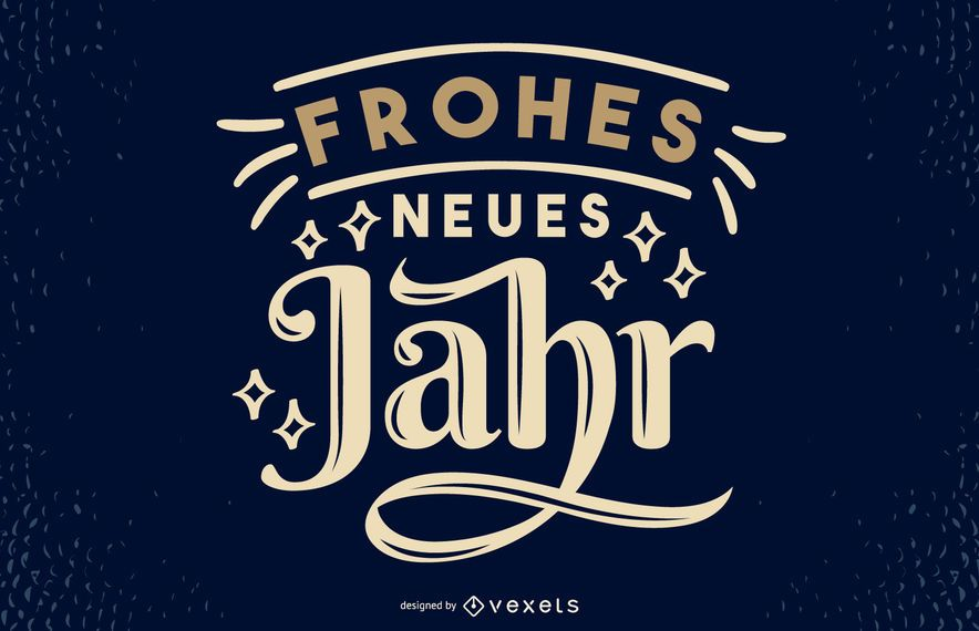Diseño de letras de cita alemana de año nuevo