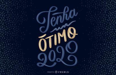 Feliz 2020 diseño de letras portuguesas