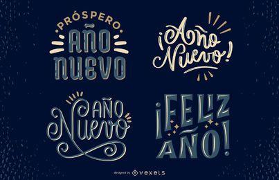 Conjunto de Design de letras espanholas de ano novo