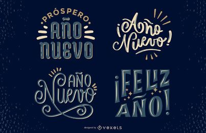 New Year Spanish Lettering Design Set