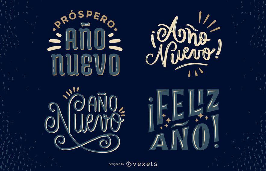 New Year Spanish Lettering Design Set