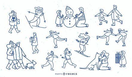 Colección de diseño de trazo simple de gente de invierno