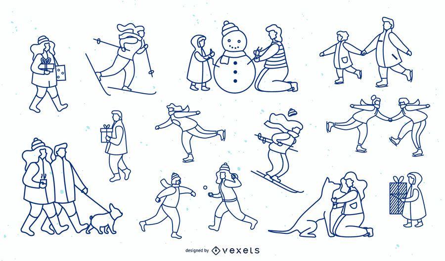 Colección de diseño de trazo simple de personas de invierno